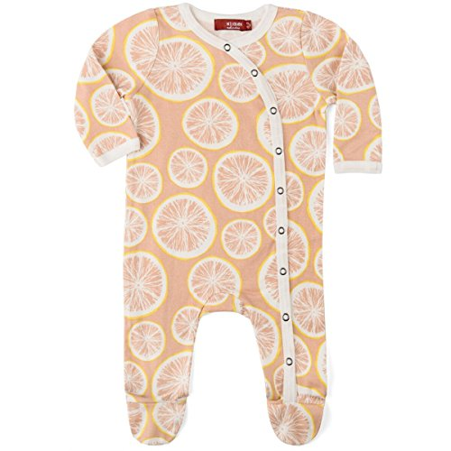 MilkBarn Organic Cotton Footed Romper Grapefruit (3-6 Months)