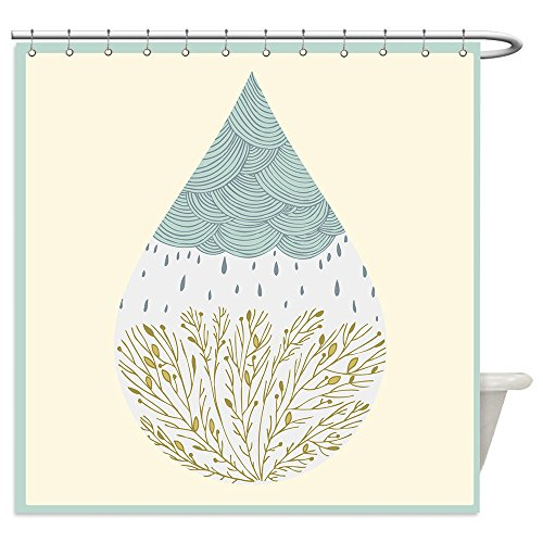 Vanfan Shower Curtains abstract hand drawn drop with clouds rain and trees 214328059 For (Little Black Rain Cloud Costume)