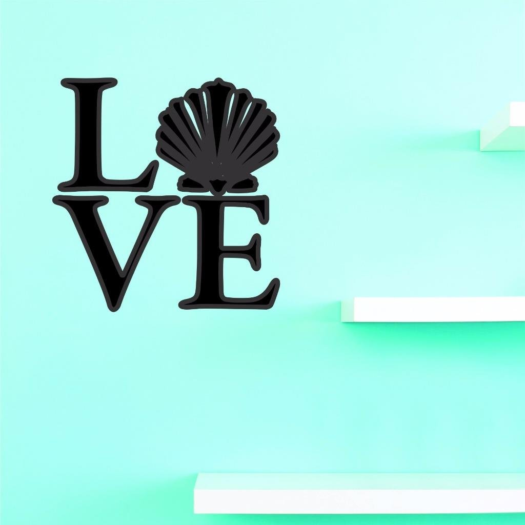 16 Inches X 24 Inches Color Design with Vinyl US V JER 2607 2 Top Selling Decals Love Sea Shell Wall Art Size Black 16 x 24