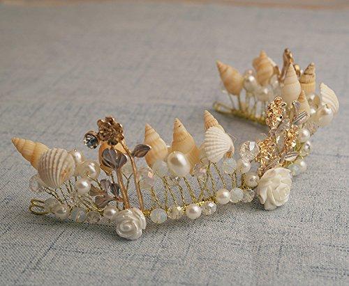 Quantity 1x Bridal jewelry hand Headdress _conch_ pearl _shells_ beaded Crown Tiara Party Wedding Headband Women Bridal Princess Birthday Girl Gift _western_ Bridal _styling_ Hair Ornaments _Modify
