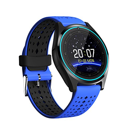 Bluetooth Smart Watch, Touch Screen Smart Wrist Watch with Camera Water-Resistant Fitness Tracker,Pedometer Sports Smartwatch,Phone Sim Card Slot for Android iPhone Samsung Men Women Kids-Blue