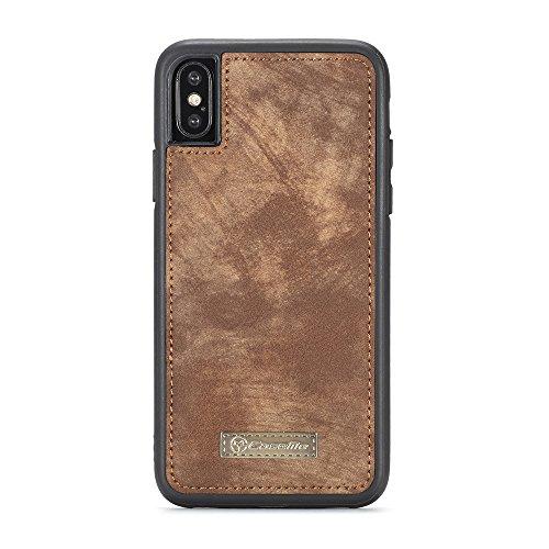 iPhone X Cordón de bolsillo de cremallera de gran capacidad de cuero Cartera de cuero caso con muñeca separable de 360 grados de protección Portatarjetas de embrague de lujo Caja para iPhone X - marró marrón