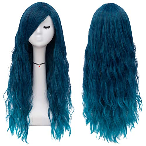 Mildiso Long Blue Wigs for Women Fluffy Curly Wavy Cosplay Costume Wig with Bangs M062B
