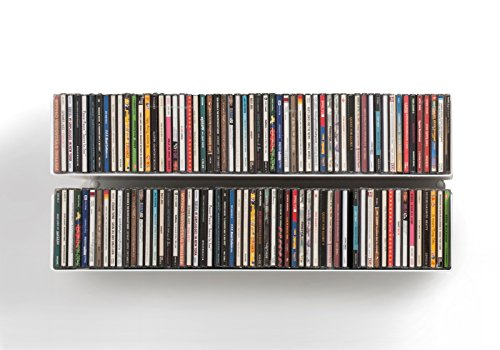 TEEbooks - DVD & CD shelves - Set of 2 - STEEL - WHITE - Supports
