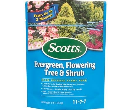 - Scotts Evergreen , Tree & Shrub Food 11-7-7 Granules Continuous Release 3 Lb.