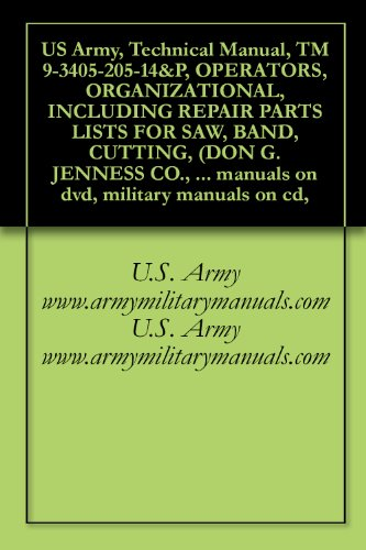 US Army, Technical Manual, TM 9-3405-205-14&P, OPERATORS, ORGANIZATIONAL, INCLUDING REPAIR PARTS LISTS FOR SAW, BAND, CUTTING, (DON G. JENNESS CO., INC. ... manuals on dvd, military manuals on cd,