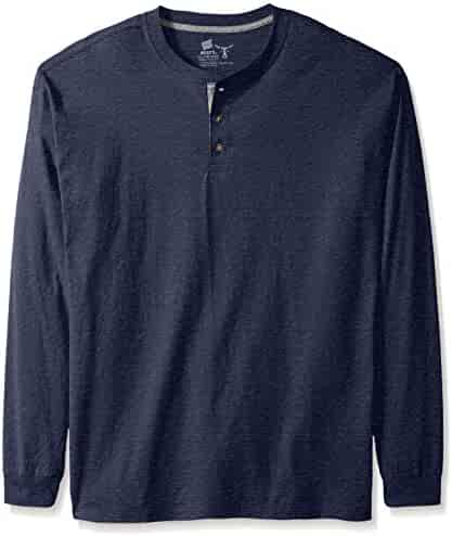 Hanes Men's Long-Sleeve Beefy Henley Shirt, Navy Heather, 2X Large