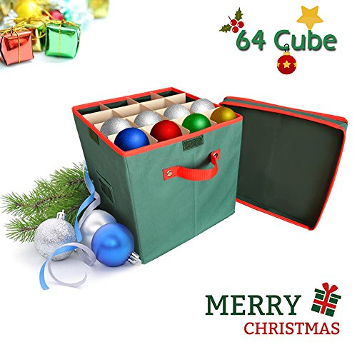 IC ICLOVER Foldable Storage Box with Lid Storage Bin Box Cubes Organizer with Adjustable Trays Layers for Home Office Holiday Christmas Ornaments Balls 12 x 12 x12 Inch, Green -