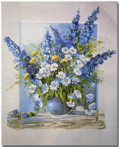 18x40cm. Hudemas Needlepoint Kit Country Flowers 7x15.7 Printed Canvas 226
