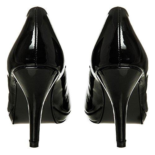 Low heel Court Shoes Women Small Platform Diamante Court Shoes Bridal Party Prom Size 3 4 5 6 7 8 black patent JONMJG