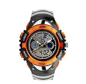 reloj de la manera reloj analógico digital aralm relojes agradables seguras naranja únicas de los niños