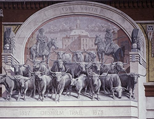 24 x 36 Giclee print ofChisholm Trail mural located in Sundance Square Fort Worth Texas r66 [between 1980 and 2006] by Highsmith, Carol - Sundance Square Worth In Fort Texas