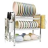SPLAKER 3 Tier Dish Drying Rack - Multi-Functional Dinnerware and Kitchen Tool Storage