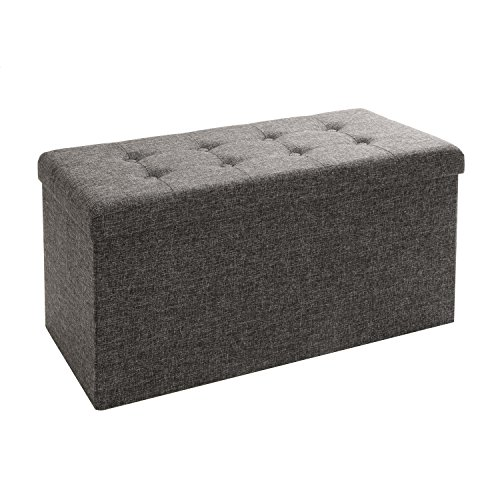 Seville Classics Foldable Storage Bench Ottoman, Charcoal (Classic Living Room Furniture)