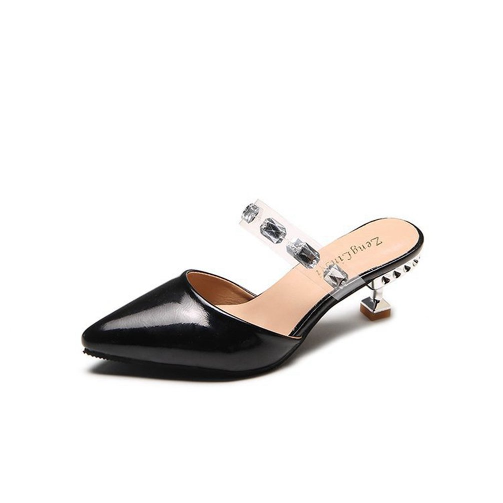 Frauen Einfache Spitze Zehe Mid Kitten Ferse Slide Sandalen Mode Slip auf Lazy Shoes  38 EU|Schwarz