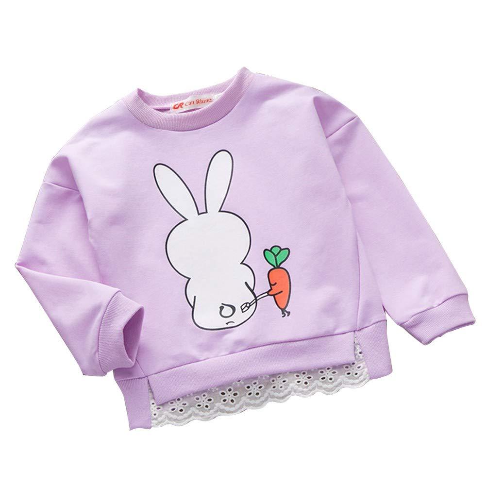 17b16d2650498 Urmagic Sweat-Shirts bébé Enfant Fille Chemise a Manches Longues Motif  Lapin Anime Sweater Pull 1-6Ans