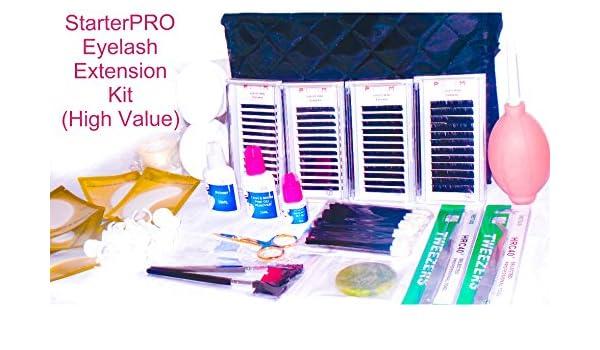 Kit de extensión de pestañas Extensiones Kit - starterpro Kit permanente pestañas individuales sintética visón pestañas: Amazon.es: Belleza