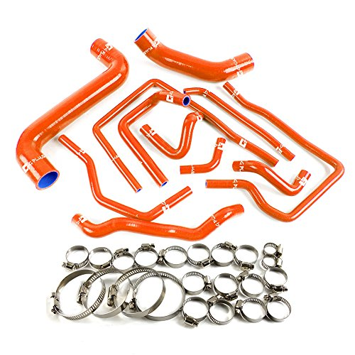 Price comparison product image Silicone Radiator Coolant Hose Kit Clamps For Subaru Impreza WRX / STi GDA / GDB EJ207 S204 S205 2002-2007 Dark Orange