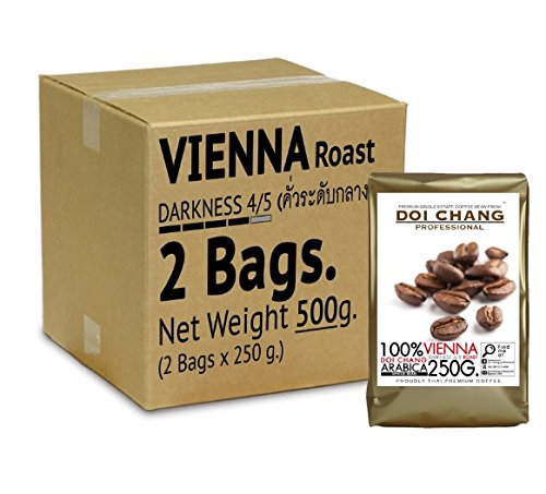 100% VIENNA Darkness 4/5 Roast Arabica Whole Bean, Thai Premium Coffee ,Medium Roast (2 x 250 g.)