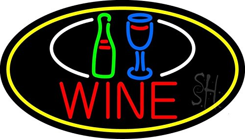The Sign Store N105-16371 Wine Bottle Glass Oval With Yellow Border Neon Sign44; 17 x 30 x 3 in. ()
