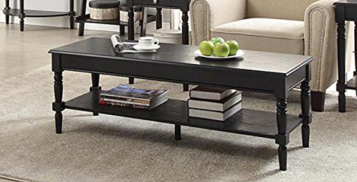 Convenience Concepts French Country Coffee Table with Bottom Shelf, Black