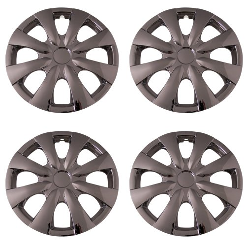 Set of 4 Chrome 15 Inch Universal 8 Spoke Replica of Toyota Corolla Hubcaps with Clip Retention System - Aftermarket: IWC450/15C (Chrome Spoke Set)