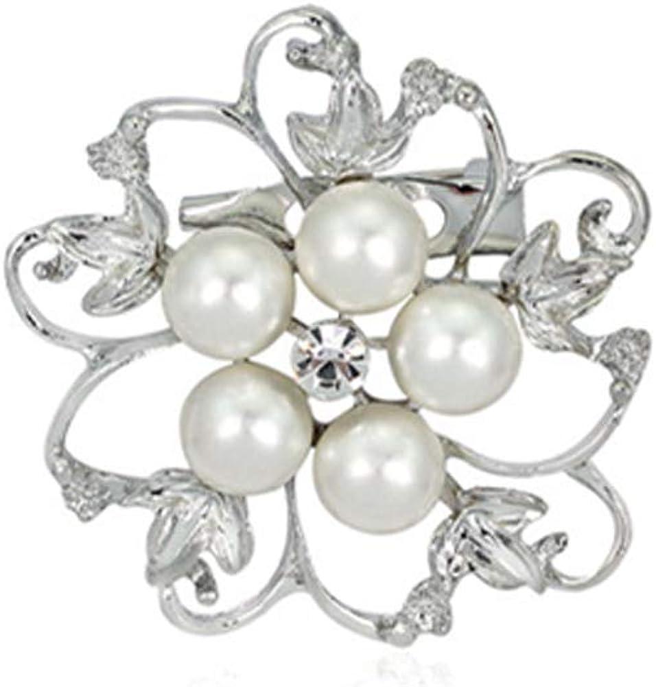 Plentifulil 1pcs Perle Broche Cristal Broche Fleur Nuptiale Strass Broche /Él/égante Pin Exquis Bijoux pour Les Femmes Filles Violet