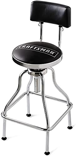 Craftsman Chrome and Vinyl Hydraulic Stool – Comfortable Swiveling Barstool for Home Bar Shop or Garage Black