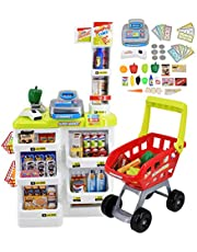 deAO Kinderen Rollenspel 48 Delig Supermarkt Set Superstore Winkel Speelgoed Kinderen Supermarkt met licht, geluid, werkende scanner, winkelwagen en accessoires inbegrepen