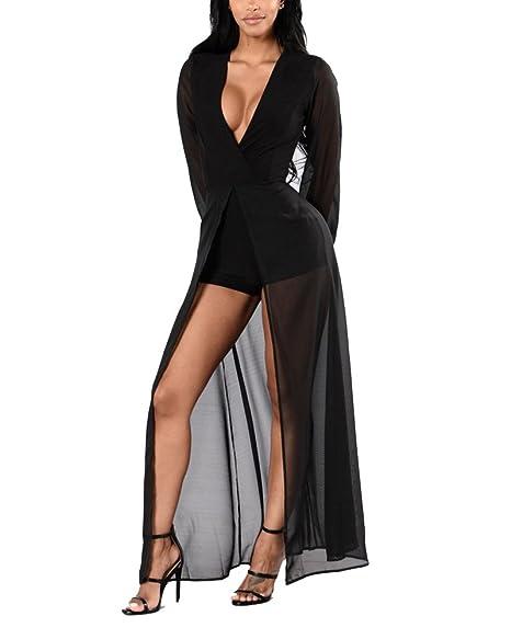 9198865297a9 Donna Vestito Floreale Elegante Colletto V Maniche Lunghe Vestito Lungo Con  Spacco Festa Sera Pantaloni Di