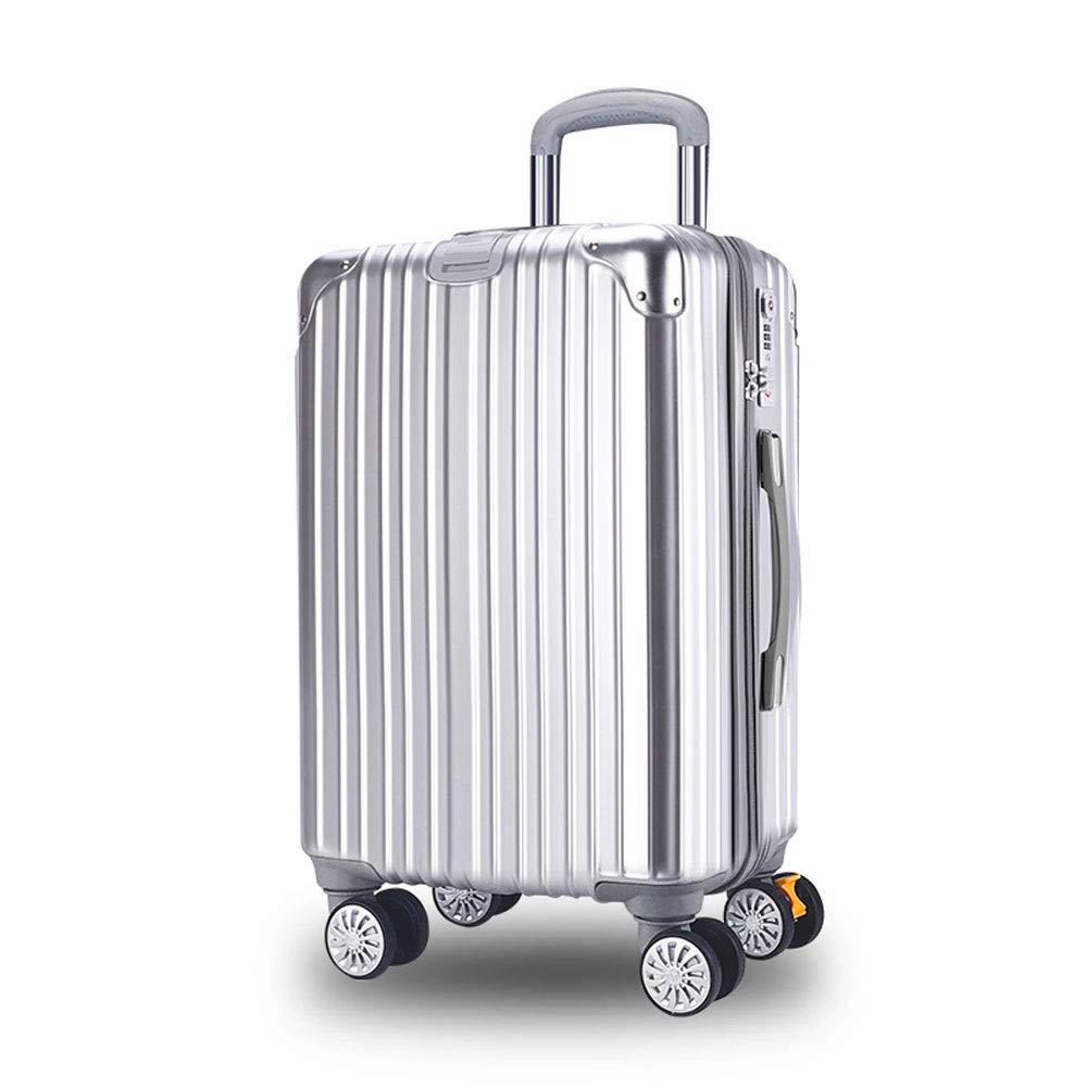 WJ スーツケース トロリーケース - ABS + PC、TSA税関ロック、エクステンション層付き、スタイリッシュな傷防止ブラッシュド隠しフック大容量スーツケース - 4色、2サイズ利用可能 /-/ (色 : Luxury silver, サイズ さいず : 45*28*71cm) B07NL7PJRJ Luxury silver 45*28*71cm