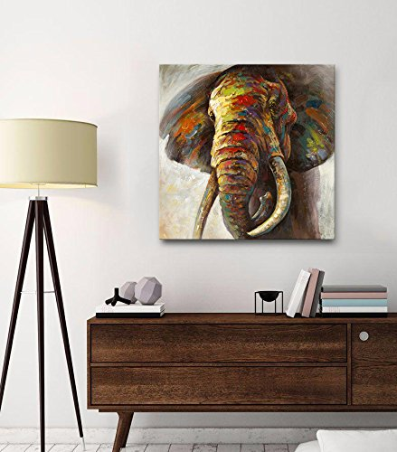 100-Hand-Painted-Oil-Painting-Canvas-Wall-Art-Painting-Cute-Colorful-Animal-Elephant-Decorative-Artwork-Framed-and-Stretched-Ready-to-Hang
