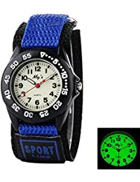 Outdoors Watch with Blue Velcro Strap Children Kids Watches Outdoor Sports Boy Girl Waterproof Watches