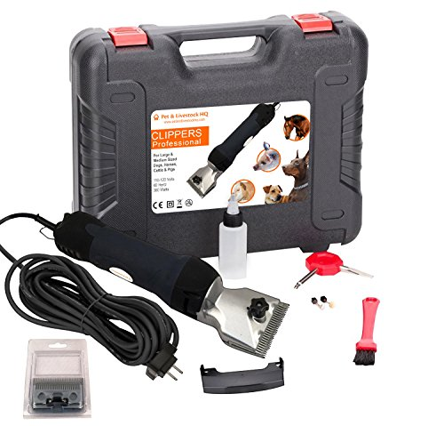 Pet & Livestock HQ 380W Professional Dog Grooming Clippers Kit, Large & Medium Dog Haircut Machine, Heavy-Duty, Electric Hair Trimmer Dogs Thick Coats, Horses, Equine, Pigs & Cattle, 2 Blades by Pet & Livestock HQ