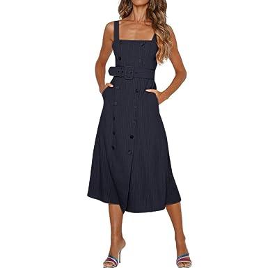 wave166_Vestido, Mujer Vestido Elegante Casual Unicolor Cuello V ...