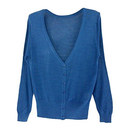 SODIAL 女性のカジュアルな薄いセーター ファッション的なVネックのフル袖 女性のニットカーディガン コート ネービーブルー