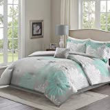 Comfort Spaces – Enya Comforter Set - 5 Piece – Aqua, Grey – Floral Printed – Full/Queen size, includes 1 Comforter, 2 Shams, 1 Decorative Pillow, 1 Bed Skirt