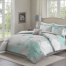 Comfort Spaces – Enya Comforter Set - 5 Piece – Aqua, Grey – Floral Printed – King size, includes 1 Comforter, 2 Shams, 1 Decorative Pillow, 1 Bed Skirt