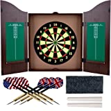 Trademark Gameroom Dartboard Cabinet Set with Realistic Walnut Finish