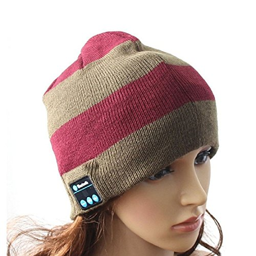 Efanr Bluetooth Music Hat, Women Men Wireless Beanie Cap with Built-in Stereo Headphone Headset Earphone Speakers Mic for Sport Gym Fitness Exercise Outdoor Running (Strips 4)