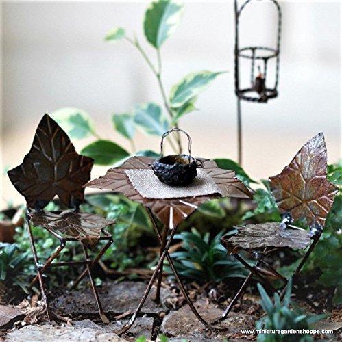 An Figurines Miniature Fairy Garden Brown Ivy Leaf Bistro Set