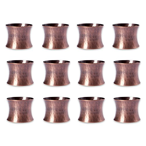 DII Napkin Rings for Weddings, Dinners, Parties, or Everyday Use, Set of 12, Hammered Antique Copper - Antique Copper Tabletop