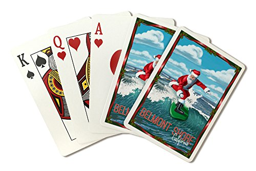 Belmont Shore, California - Santa Surfing (Playing Card Deck - 52 Card Poker Size with - Shore Belmont