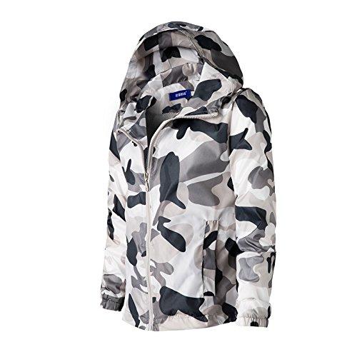 Elegante Casual xl Camouflage Abbigliamento Rivestimento Sunscreen cap Camicia Camouflage Grigio Di Il Bianco E Uomo EfdxwB