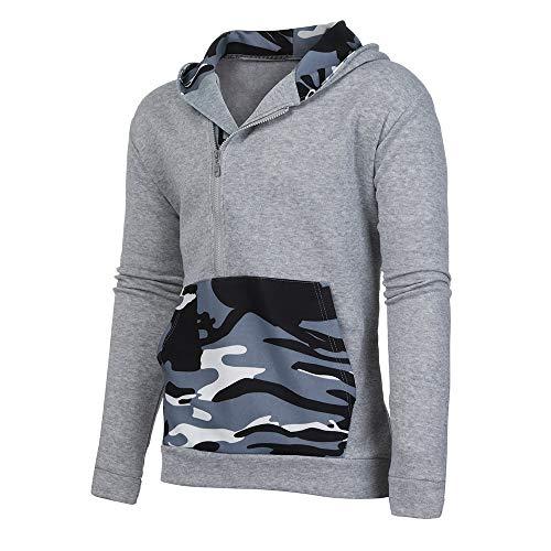 Snowboard Jacket Hot Coral - Realdo Men's Slim Fit Hoodie, Mens Camouflage Print Sweatshirt Long Sleeve Quarter Zipper Pullover(Medium,Grey)