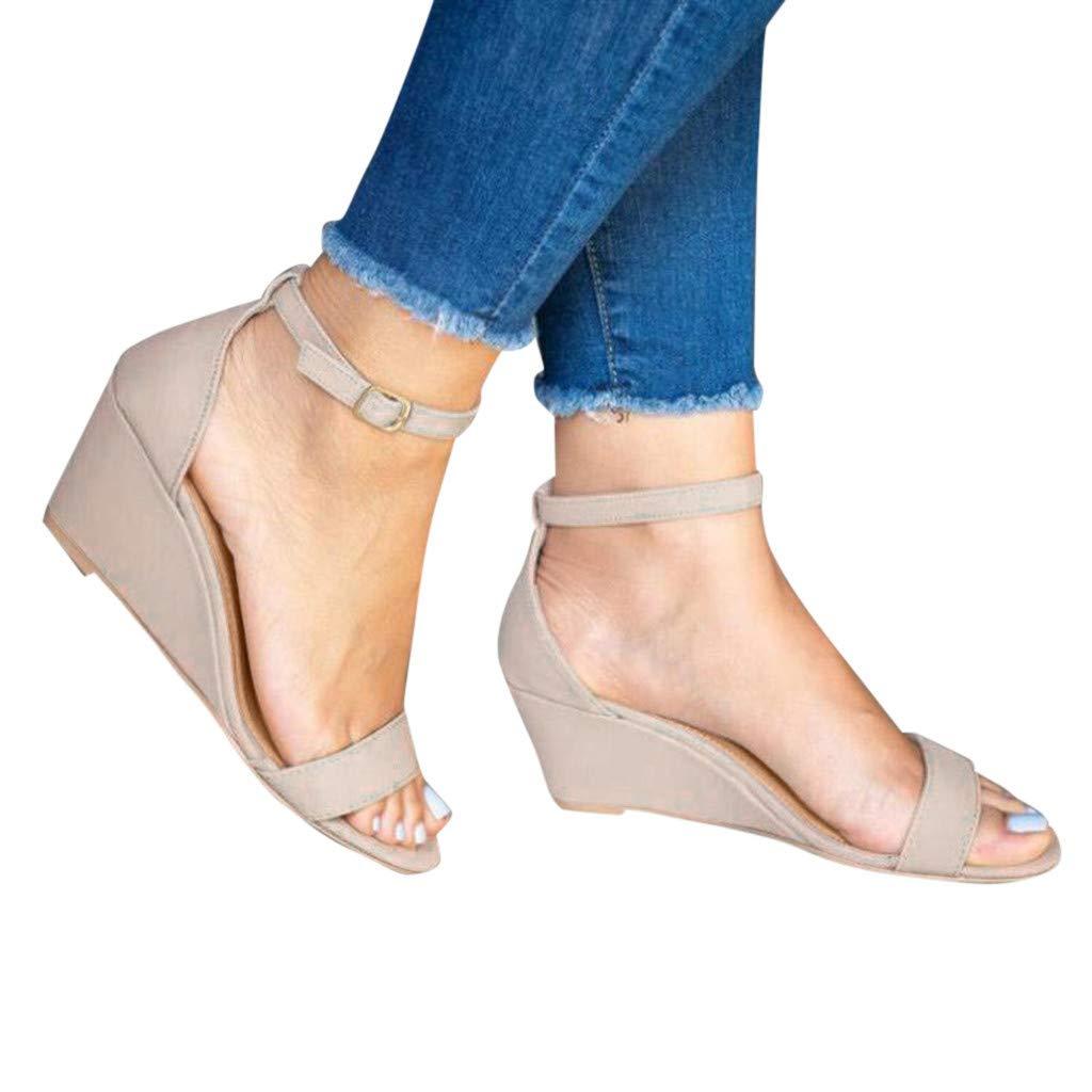 Women's Ankle Strap Buckle Mid Wedge Platform Heeled Sandals 6.5CM Summer Dress Sandals Pump Shoes (Beige -5, US:5.0)