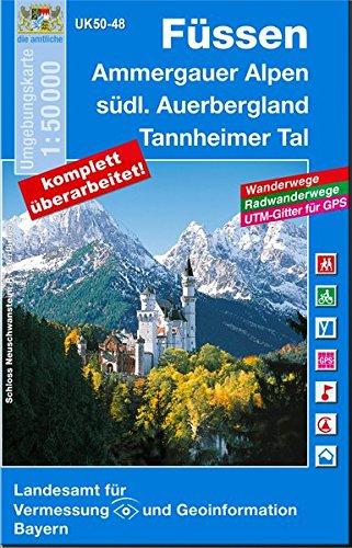 Füssen und Umgebung 1 : 50 000 (UK 50-48) (UK50 Umgebungskarte 1:50000 Bayern Topographische Karte Freizeitkarte Wanderkarte)