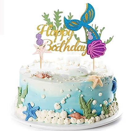 amazon com mermaid cake topper happy birthday cake picks gold