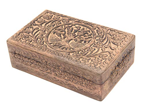 Hand Carved Tree of Life Wooden Storage Box (Large, Tree of Life)