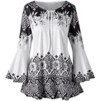 vermers Fashion Plus Size Clothing for Women Womens Printed Flare Sleeve Tops Blouses Keyhole T-Shirts